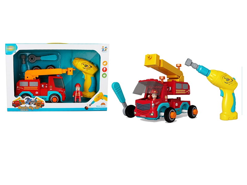 DIY PULL BACK FIRE FIGHTING TRUCK W/B/O SCREWDRIVERB & MUSIC,NOT INCLUDE BATTERY - HP1143047
