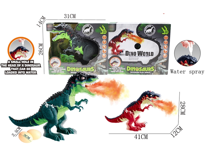 B/O LAY EGG DINOSAUR W/SPRAY & WALKING & LIGHT & SOUND,GREEN/RED - HP1146385