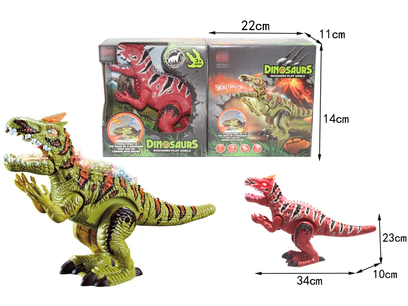 B/O DINOSAUR W/WALKING & TAIL SWING & LIGHT & SOUND,GREEN/RED - HP1146388