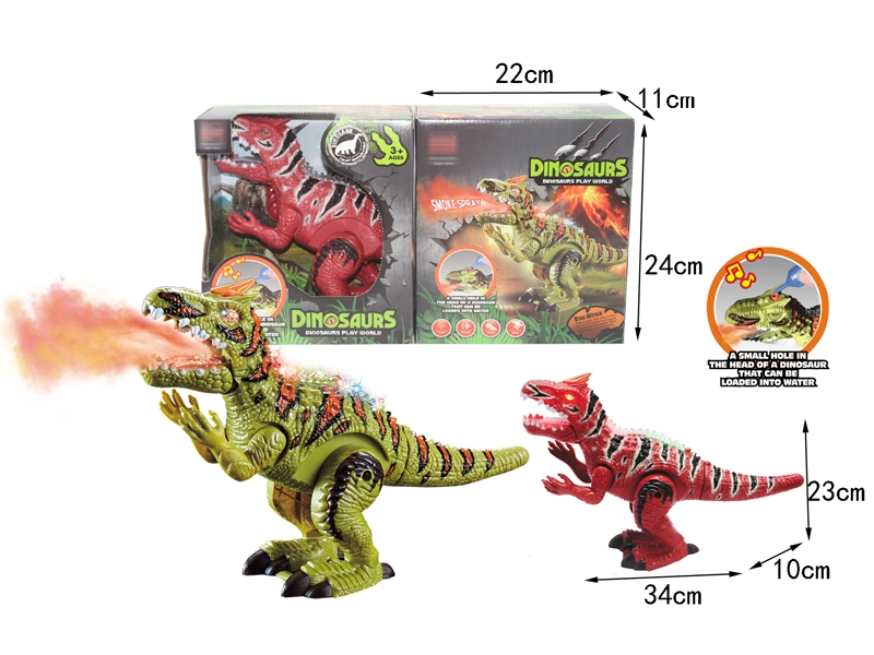 B/O DINOSAUR W/SPRAY & WALKING & TAIL SWING & LIGHT & SOUND,GREEN/RED - HP1146389