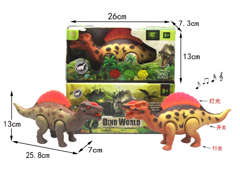 B/O DINOSAUR W/WALKING & LIGHT & SOUND,GREEN/ORANGE - HP1146390