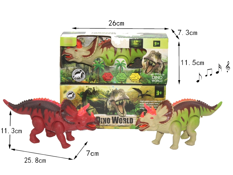 B/O DINOSAUR W/WALKING & LIGHT & SOUND,GREEN/RED - HP1146391