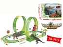 B/O RAIL CAR W/DINOSAUR & LIGHT,36PCS